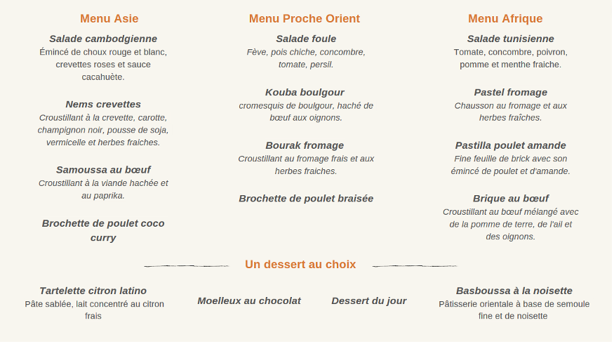 menu complet